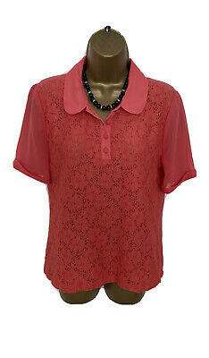 £2.99 • Buy GORGEOUS SHIRT TOP BLOUSE By NEXT UK 12 VGC CORAL FLORAL LACE TRIMMED LOOSE FIT