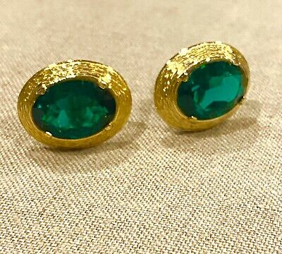 £18.28 • Buy Green Emerald Swarovski Crystal Cuff Links Gold Plate Excellent Condition
