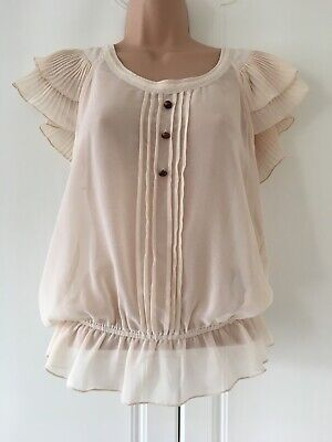 £4.99 • Buy Jane Norman Pretty Sheer Cream Pleated & Frill Detail Blouse Top Size 8