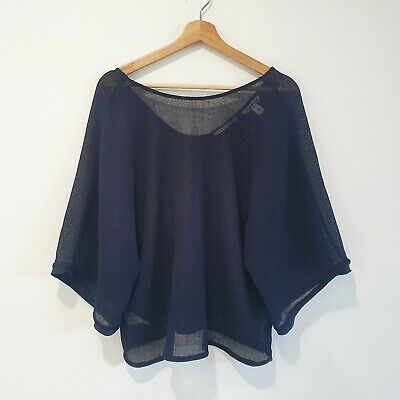 AU34.95 • Buy Country Road Size 12 Navy Mesh Japanese Woven Fabric Kimono Sleeve Blouse Top