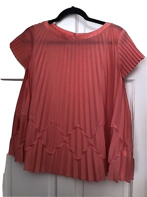 £14.99 • Buy TED BAKER Coral Semi Sheer Short Sleeve Pleated Top Blouse Size 1 Work Casual
