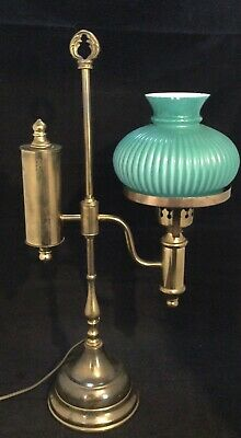 £59.99 • Buy Vintage Brass Student Oil Lamp Converted To Electric With Green Milk Glass Shade