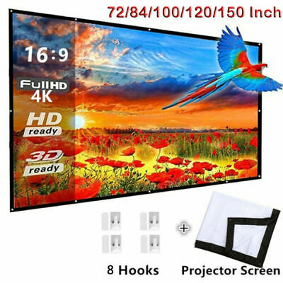 AU17.99 • Buy 72-150  Foldable Projector Screen Portable Outdoor Home 3D Movie Cinema 16:9