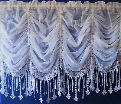 £40 • Buy Ruby A  Plain Voile Ruched Festoon With  A Heavy Macrame Base White Net Curtain