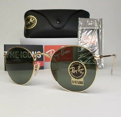 AU94.36 • Buy Ray-Ban Gold Round Metal Frame Sunglasses. RB 3447 001.