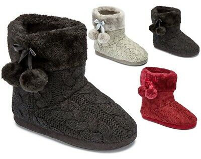 £14.89 • Buy Ladies Womens Warm Bootie Pom Pom Bootee Winter Ankle Boots Slippers Size 3-8