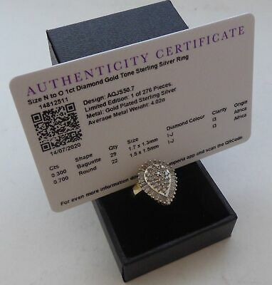 £125 • Buy 1ct Diamond 925 Sterling Silver Ring Gemporia Certificate Of Authenticity