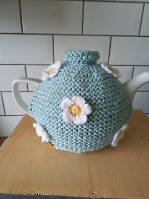 £4.50 • Buy Hand Knitted Tea Cosy Medium.Duck Egg Blue Decorated With White Crochet Flowers