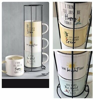£19.99 • Buy Next 4 * Stacking Happy Slogan Mugs Cups Coffee Tea Motivational Metal Stand New