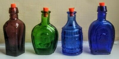 £35 • Buy Vintage Four Glass Chemist Apothecary Poison Jar Bottles And Corks