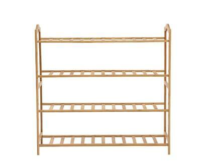 AU41.20 • Buy Levede Bamboo Shoe Rack Storage Wooden Organizer Shelf Stand 4 Tiers Layers 80cm