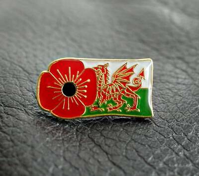 £4.50 • Buy PURPLE Poppy Lapel Pin Badge With WELSH DRAGON FLAG Remembrance Day Wales 2021