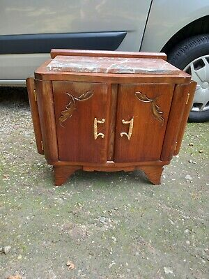 £125 • Buy French Vintage Art Deco Marble Top Bedside Cabinet Cupboard Table