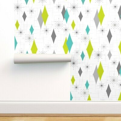 £29.71 • Buy Removable Water-Activated Wallpaper Diamond Mid Century Modern Teal Lime 50S