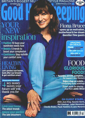 £3.95 • Buy Good Housekeeping Magazine October 2021 ~ Fiona Bruce Cover /  Interview ~ New ~