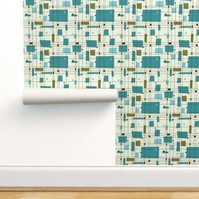 £42.76 • Buy Removable Water-Activated Wallpaper 50S 50S Grid Retro Mid Century Vintage