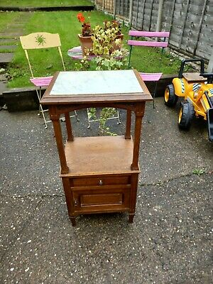 £125 • Buy Vintage French Marble Topped Bedside Cabinet Pot Cupboard Table