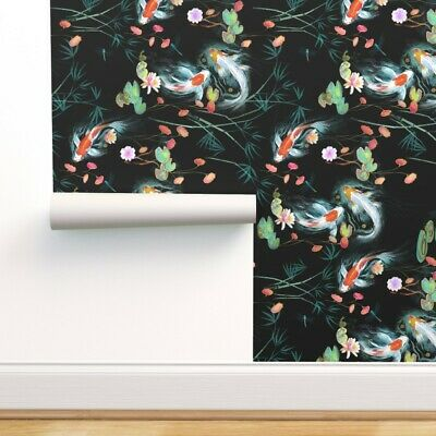 £6.54 • Buy Peel-and-Stick Removable Wallpaper Koi Fish Japanese Oriental Exotic Chinoiserie