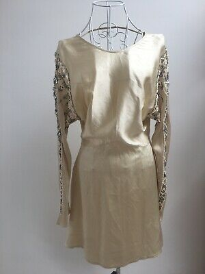 £180 • Buy Kate Moss For Topshop Ultra Rare Gold Beaded Jeweled Dress Wedding, Christening