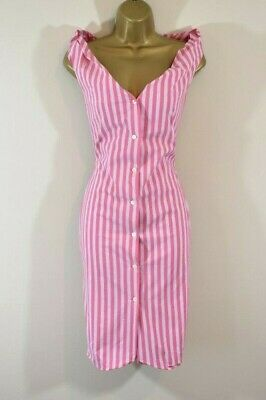 £195 • Buy VIVIENNE WESTWOOD ANGLOMANIA 42 Candy Stripe Cotton Hitched Hem Shirt Dress