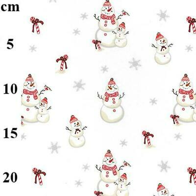 £6.45 • Buy Christmas Snowman Cotton Jersey Knit T-shirt, Dressmaking Fabric. By The Half Me