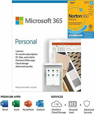 AU82.59 • Buy Microsoft Office 365 Personal 5 Device 1 Yr Download + FREE Norton 360 3D Months