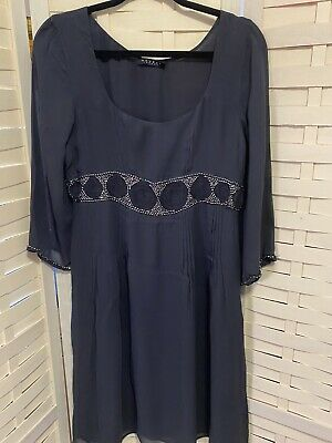 £8.95 • Buy Nougat Size 12 Navy Lined Sheer Dress With Sliver Coloures Beads & Embroidery
