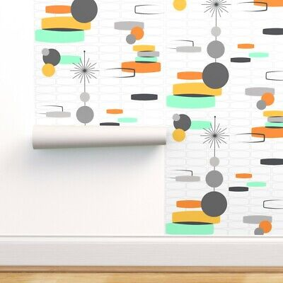 £53.63 • Buy Removable Water-Activated Wallpaper White Retro Orange Modern Gold Mint 60S 50S