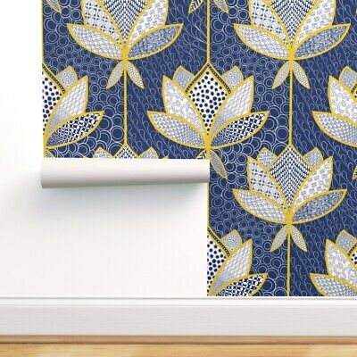 £5.81 • Buy Peel-and-Stick Removable Wallpaper Japanese Lotus Golden Patchwork Blue White
