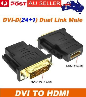 AU7.88 • Buy DVI-D Dual Link 24+1 Male To HDMI Female Audio Video Adapter Coupler Converter