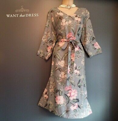 £2.25 • Buy Laura Ashley Size 14 Beautiful Dove Grey Antique Floral 3/4 Sleeve Dress
