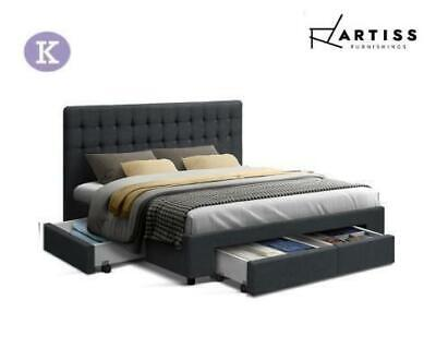 AU369 • Buy RETURNs Artiss Bed Frame King Size Mattress Base With Storage Drawers Charcoal