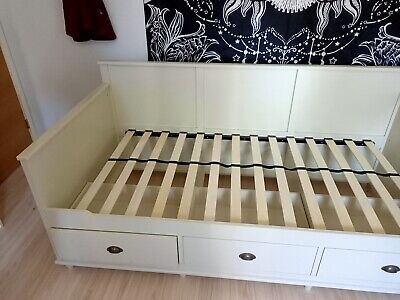 £60 • Buy Single Wooden Pale Grey Storage Bed 3 Pull Out Drawers
