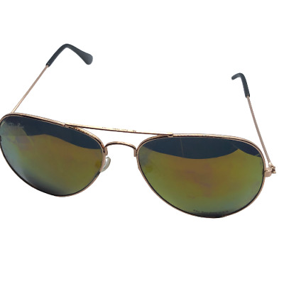 £19.75 • Buy Ray-Ban Gold Tone Frames Mirrored Lens Aviator Sunglasses - FLAWS
