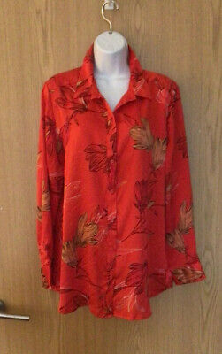 £12.50 • Buy M&S Satin Feel Blouse Loose Shirt Red  Floral Print Size 16