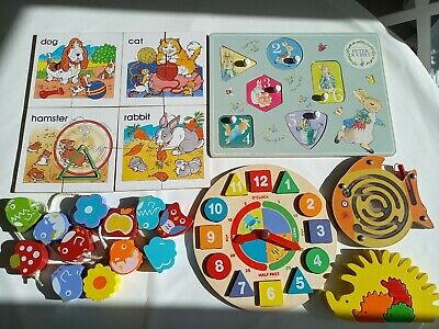 £10.50 • Buy Wooden Puzzle Toy Bundle Baby Toddler Jigsaw Threading Clock Maze