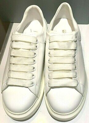 AU250 • Buy Alexander McQueen 011 White Leather Oversized Runner Low Top Sneakers Eu45 + Box