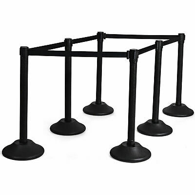 £99.99 • Buy 6PCS Stanchion Post Standing Crowd Control Barriers With Retractable Belt