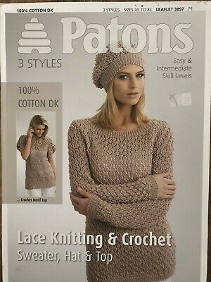 £0.50 • Buy Patons Lace Knitting And Crochet Sweater, Hat & Top Pattern No 3897