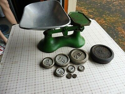 £29 • Buy Vintage Cast Iron Green Painted Kitchen Scales With Weights