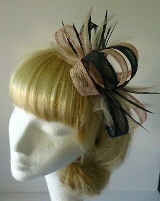 AU37.07 • Buy Navy Blue/blush Pink Fascinator Feather Wedding Mother Of The Bride Races