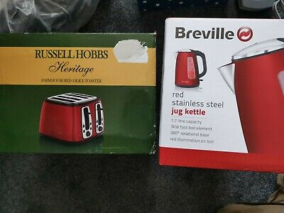 £64.99 • Buy Russell Hobbs Heritage 4 Slice Toaster And 3kw Fast Boil Kettle Set Red