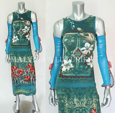 AU185.07 • Buy SAVE THE QUEEN DRESS GREEN AND BLUE FLORAL DRAPED SLEEVES Sz L Large