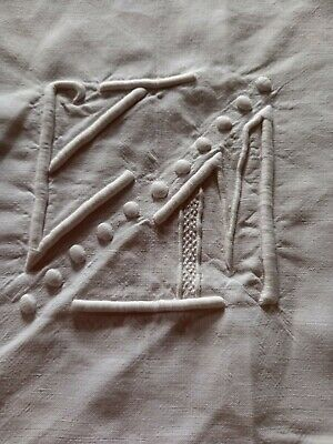 £22 • Buy Vintage French Cotton Sheet Hand Embroidered Monogram 205cm X 280cm VGC