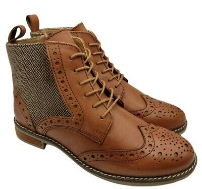 £33.95 • Buy Silver Street London Womens Tan Leather Tweed Brogue Boots Size 4 Uk New