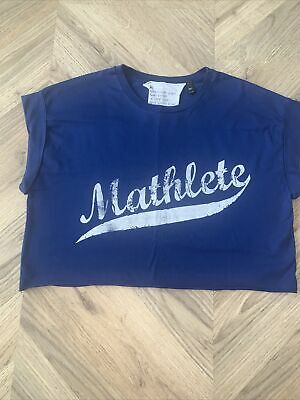 £2 • Buy Topshop Tee And Cake Cropped Mathlete Blue T Shirt