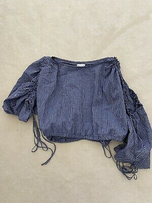 AU102.50 • Buy Scanlan Theodore Gingham Top. Navy White Blue. All Size. Great Condition.