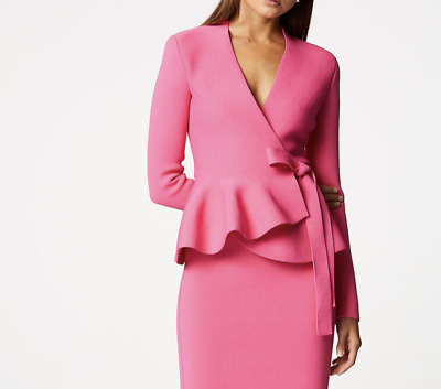 AU285 • Buy Scanlan Theodore Pink Wrap Crepe Knit Jacket Size Small