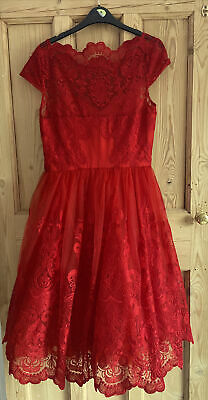 AU27.59 • Buy Chi Chi London Red Lace Dress. Size 10