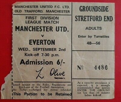 £3.50 • Buy Manchester United V Everton Ticket ~ 2nd September (1970)? First Division League
